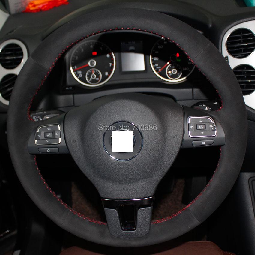 XuJi Black Suede Steering Wheel Cover for Volkswagen VW Gol Tiguan Passat B7 CC Touran Magotan Sagitar(China (Mainland))