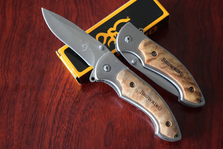 12Pcs lot 440C Blade OEM Browning 337 Wood Handle Tactical Folding knives Hunting Knife Camping tool