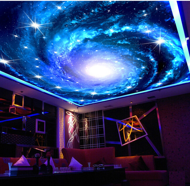 Custom wallpaper universe, the Milky Way stars used for the bedroom ceiling KTV bar wall waterproof vinyl papel DE parede(China (Mainland))