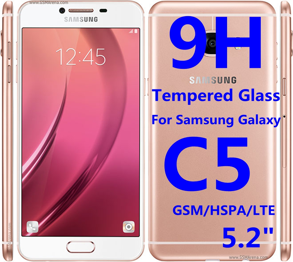 9H Tempered Glass For Samsung Galaxy C5 Protective Film GSM HSPA LTE Screen Protector Phone Case Fundas(China (Mainland))