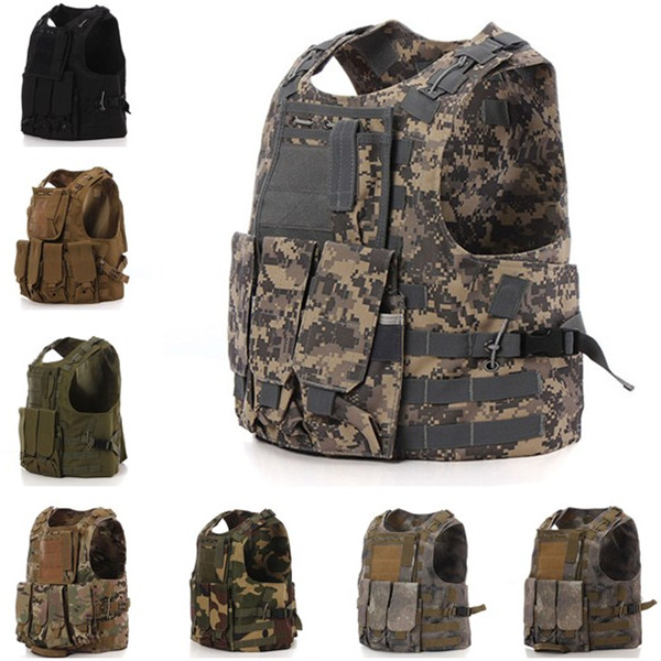 8 colors Hunting Shooting Military Airsoft Nylon Combat Paintball Tactical Vest Adjustable Outdoor Sports Canvas Fabric Type Cam