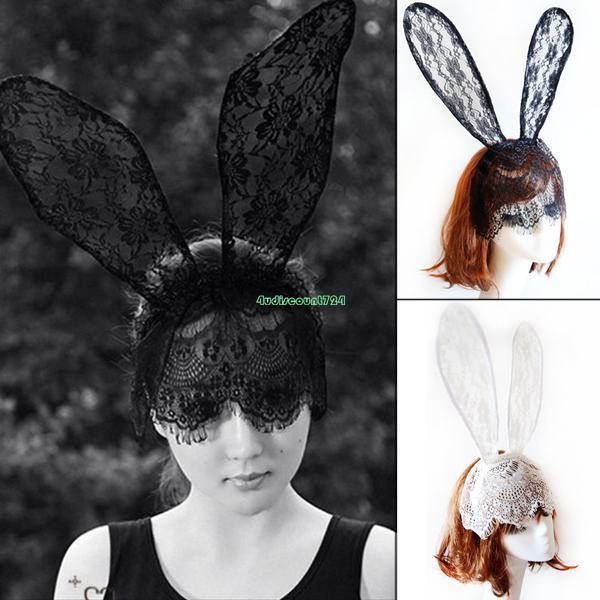 Adjustable Lace Mask Animal Bunny Ears On Headband Easter Rabbit Hen Night Party EX0256(China (Mainland))