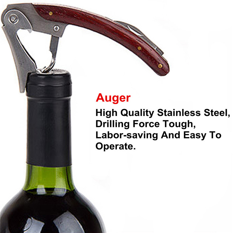 Excellent Quality Premium Mahogany Handle Stainless Double Hinge Corkscrew Cutter Wine Opener Beer Opener Bottle Opener(China (Mainland))