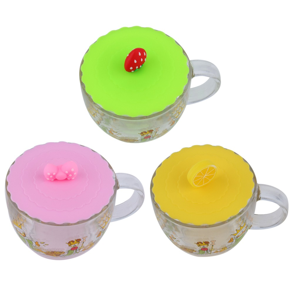 1Pc Cute Anti-dust Silicone Glass Cup Cover Coffee Mug Suction Seal Lid Cap Silicone Airtight Love Spoon Novelty(China (Mainland))