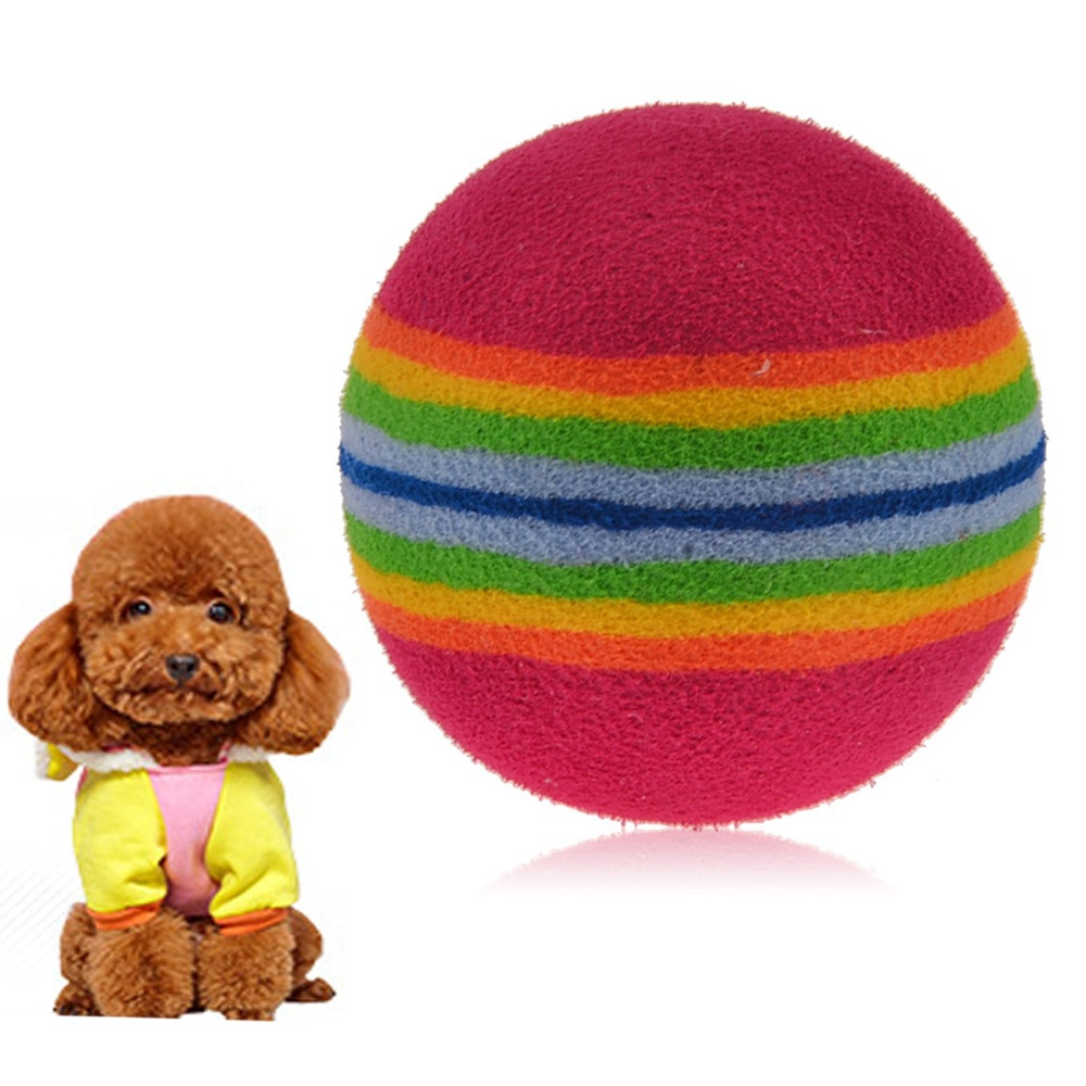 Rainbow Color Funny Rainbow Balls Toy to Play Catch for Pet Dog(China (Mainland))