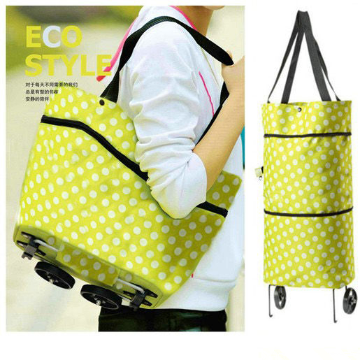reusable recycle bag portable shopping cart foldable trolley tote wheel Rolling folding shoulder bags