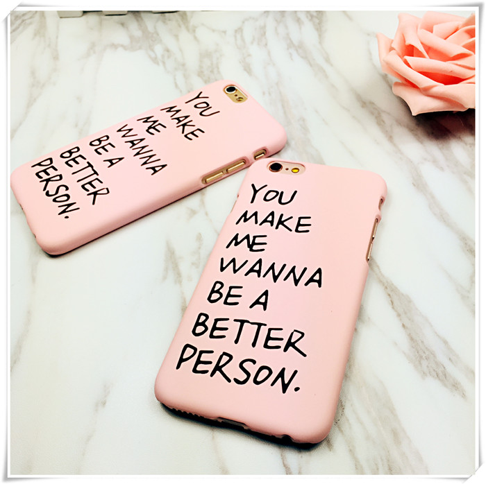 English alphabet pink for iphone 6s couple phone shell protective sleeve apple 6plus matte hard shell casing 5S(China (Mainland))