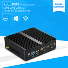 Newest Mini PC Computer Celeron J1800 2.41GHz Dual Lan N2830 Industrial Thin Client Fanless Design Micro Windows7 OS 2*RS232