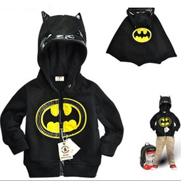 Fashion boys batman cosplay clothes children kids autumn winter long sleeve wram outerwear 100% cotton 1pc TZ056(China (Mainland))