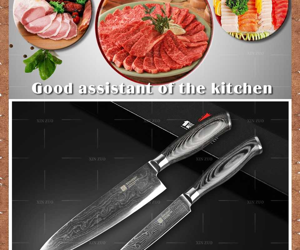 Buy XINZUO 2 pcs kitchen knife set h Damascus high quality kitchen knife Japanese utility chef knife color wood handle free shipping cheap