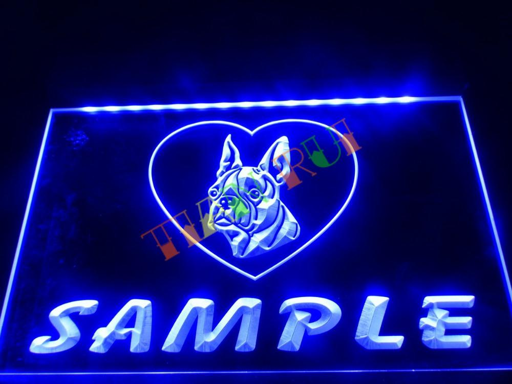 buy dz074 name personalized custom boston terrier dog house home neon sign hang. Black Bedroom Furniture Sets. Home Design Ideas
