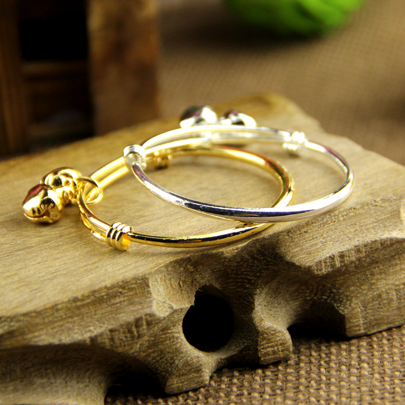 2PCS baby bell bracelet/bracelet plated silver/ plated18K gold Kid Baby Boy Girls Bracelet jewelry Free shipping(China (Mainland))