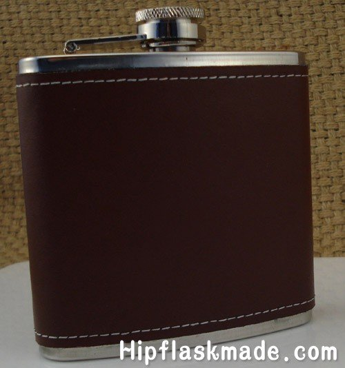 Retail & wholesales 6oz stainless steel hip flask genuine leather wrapped(China (Mainland))