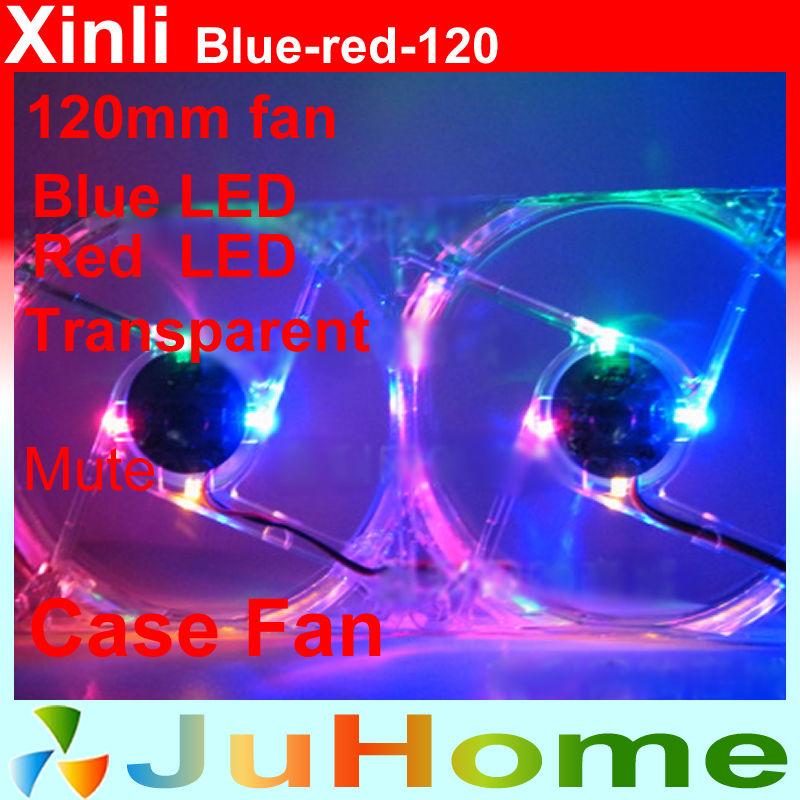 , Blue Red LED, 120mm, 12cm fan 12025 fan, super mute, power supply computer Case cooler, XinLi blue-red-120 - CloudFan Store store