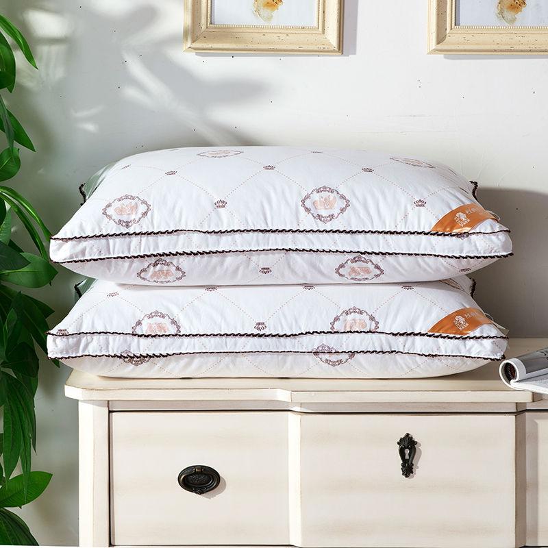 Svetanya solid white duck/goose down filler pillows neck pillow 40s cotton linens 48x74cm bedding pillows(China (Mainland))