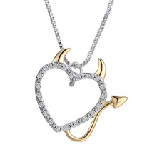 Buy Fashion gold Devil necklaces heart simple necklaces women silver crystal pendant & necklaces lover gift women jewelry for $1.46 in AliExpress store