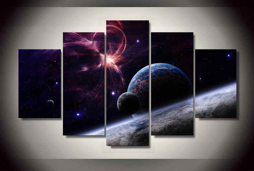 framed printed pla s stars galaxies painting on canvas