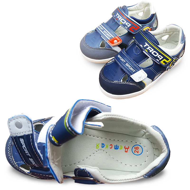 Verano 1 par PU playa muchacho de moda zapatos suaves, del niño / del bebé los niños ortopédicos sandalias, Skidproof calzado barato(China (Mainland))