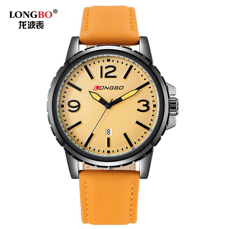 Brand LONGBO 80182G alloy case leather strap watch men's sports and leisure fashion quartz watch men brand erkek kol saatleri(China (Mainland))