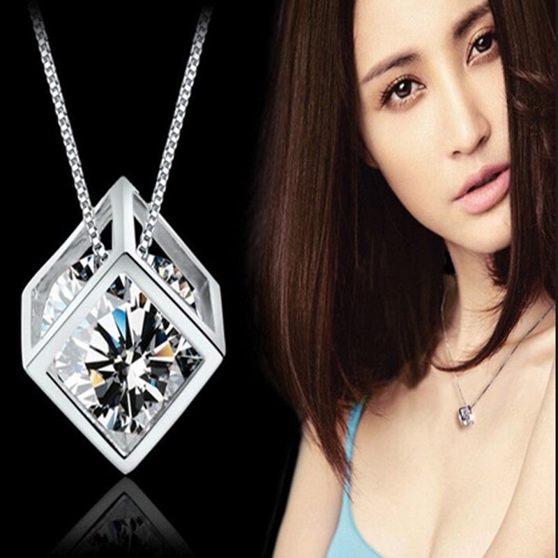 fashion Austria zircon magic cube crystal necklace pendant chain vogue charming jewelry accessories party christmas gift(China (Mainland))