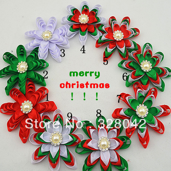 Trail order Baby Girl Christmas Gifts Grosgrain Ribbon flower head rhinestone pearl Button centre accessories 20 pcs/lot