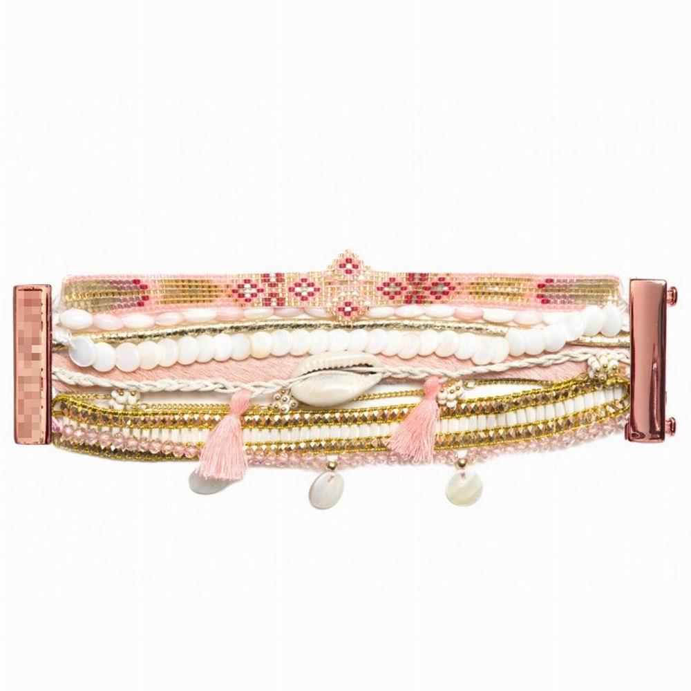 Borabora 2015 French Bohemia HIPANEME Bracelet&Bangle DIY Pink Beads Shell Tassel Beach Bracelet Rose Gold Jewelry Customizable(China (Mainland))