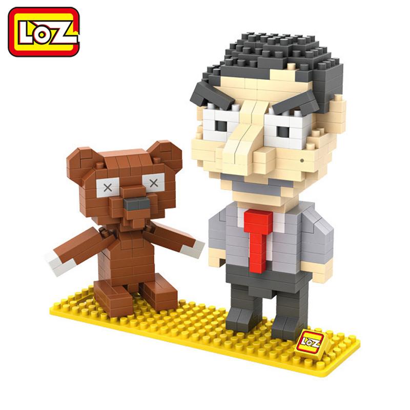 LOZ Mr. Bean And Teddy 3D Model Action Figure Toy Diamond Building Blocks Original Box 14+ Gift 9507(China (Mainland))