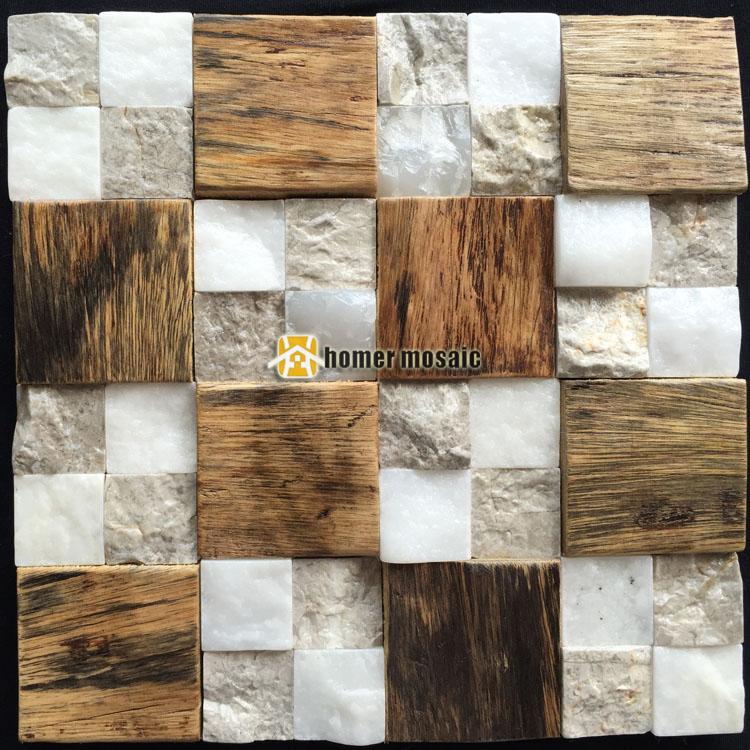 3D natural wood mosaic old ship wood tiles mixed stone wall mosaic HS6000B for bar background backsplash kitchen wall(China (Mainland))