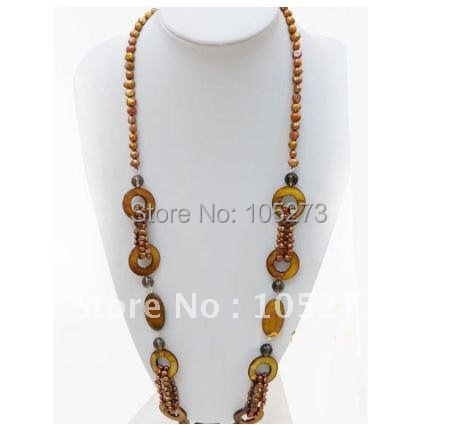 Classic Brown Genuine Freshwater Pearl &amp; Natural Shell Necklace 32inch AA 3-20MM Fashion Jewelry Wholesale New Free Shipping<br><br>Aliexpress
