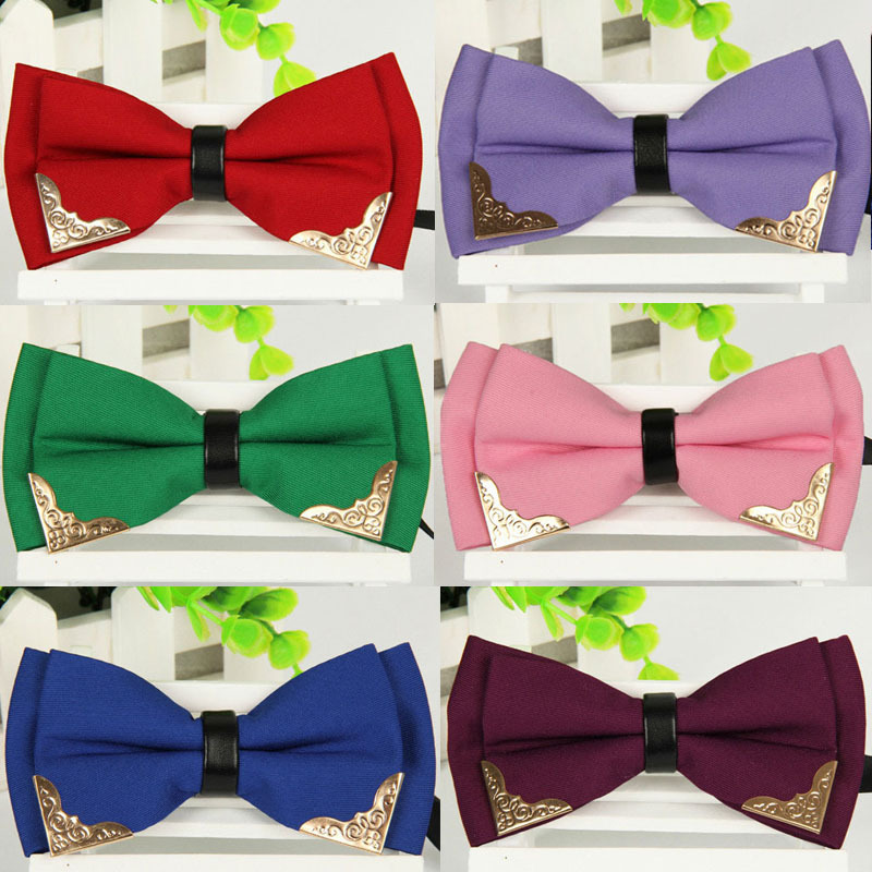 New Men's classic Adjustable Solid Neck Bowtie Men's fashion Mental Decorated polyester Bow Tie 2014 Male black Red White ties(China (Mainland))