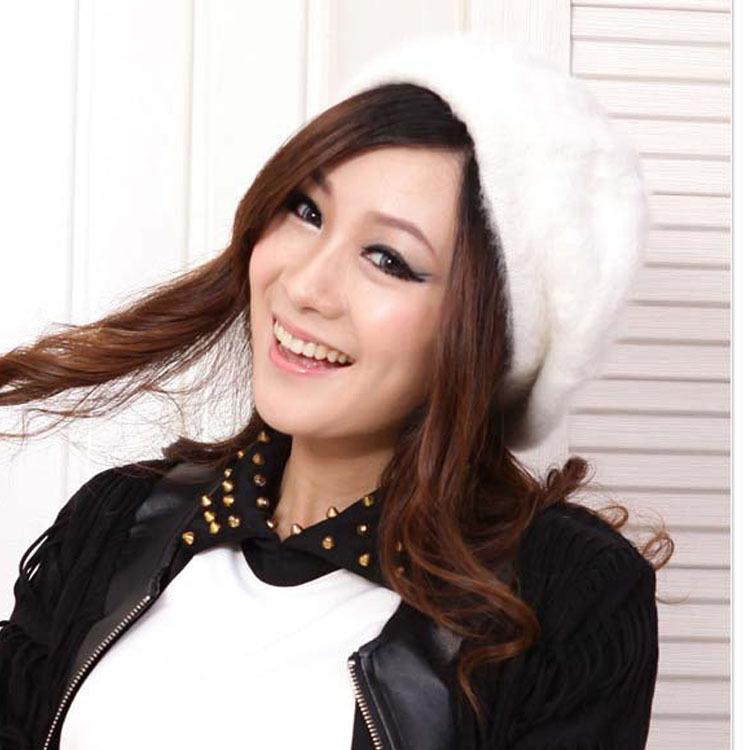 2014 autumn and winter rabbit fur beret solid color painter cap bucolics princess hat(China (Mainland))