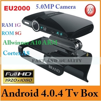 2013 New EU2000 Android 4.0.4 TV box built-in 5.0MP camera  and Mic Allwinner A10 HDMI 1080P RAM 1GB ROM 8GB skype ,EMS/DHL Free
