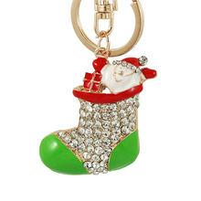 Emaye Noel Ağacı botları Noel Baba Anahtarlıklar Kırmızı yıldız kristal Anahtarlık Zincirleri Çanta Çanta Kolye Araba Anahtarlıklar Hediye(China)