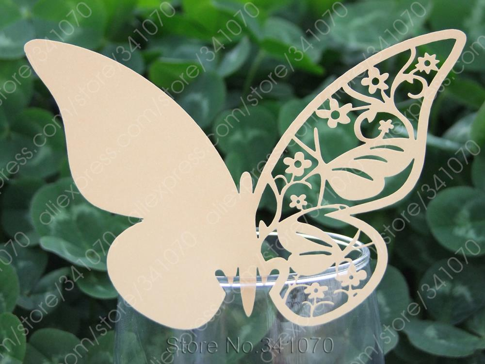 Laser Cut Butterfly Paper Place Cards/ Cup Wine Glass Escort Card Wedding Favors Party Decor, - HD043 Supplies Shop store