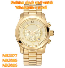 Fashion classic golden big dial business men's watch MK8077 MK8086 MK8096+ Original box + Wholesale and Retail + Free Shipping