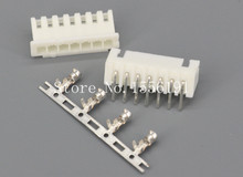 100Sets/Kit XH2.54-7P 7Pin Curved needle spacing 2.54mm connectors Male and Female Plug + terminals