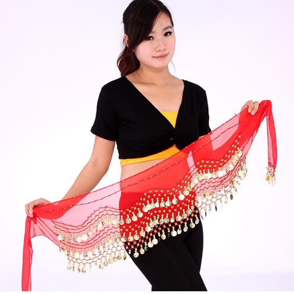 Women Belly Dance Coin Belt Hip Scarf Skirt Wrap Girls Bollywood Dancing Costume(China (Mainland))