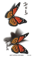 Sexy breast Waterproof 3D butterfly tattoos Letter Design Temporary Tattoo Foil