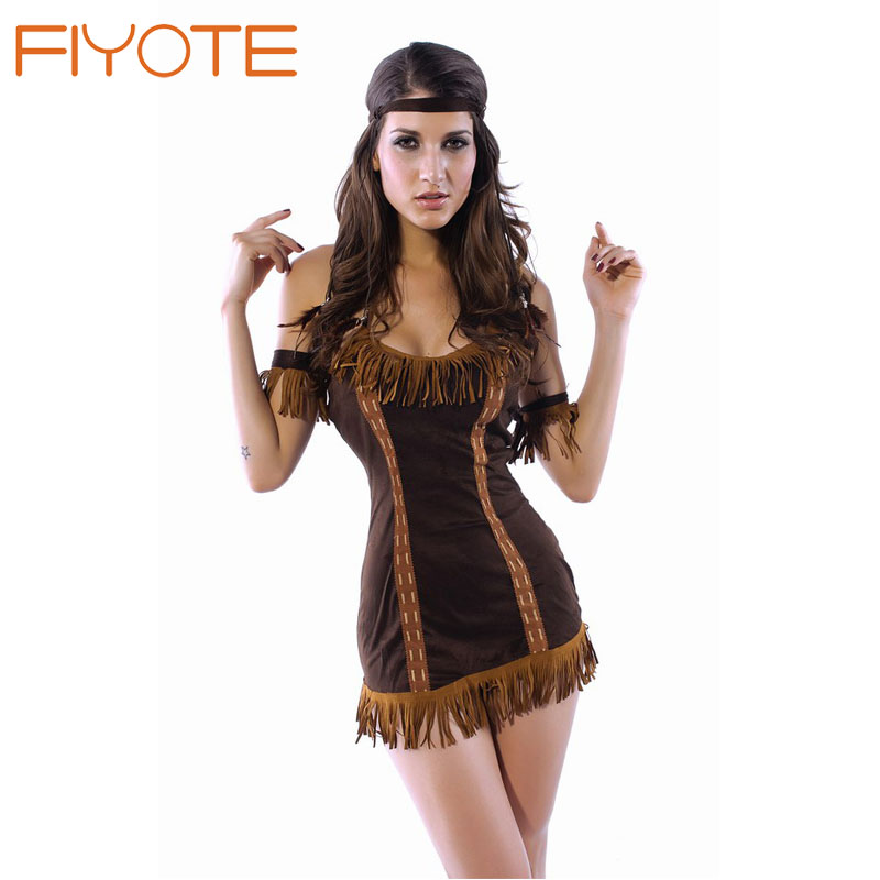 FIYOTE Hot Indian Princess Costume LC8378 Cosplay Country Girl & Cowgirl Costume Cheap Sexy Dress Fantasy Women Sexy Lingerie(China (Mainland))