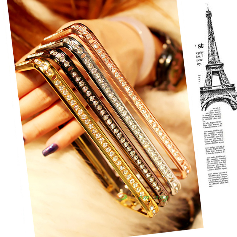 Luphie for iPhone 6 6s Case 4.7 Inch Luxury Crystal Rhinestone Bumper Frame Cover Diamond Gold Slim Shining Bling Metal Case(China (Mainland))