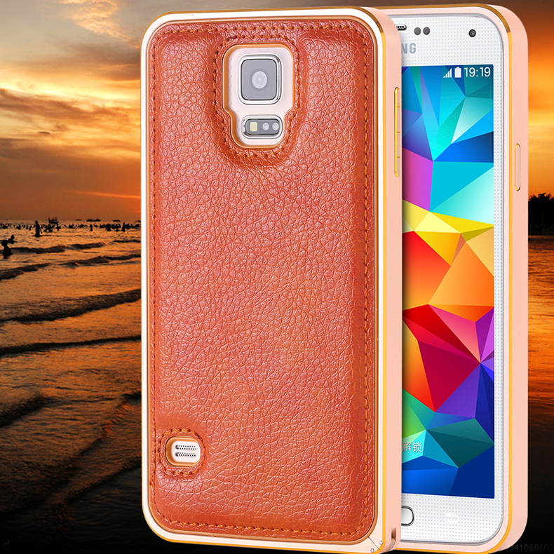 For Samsung S5 Cover Aluminum Metal Frame Double Color + Lychee Leather Back Retro Case For Samsung Galaxy S5 i9600 Luxury Shell(China (Mainland))