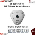 Hikvision Original English Version DS 2CD6362F IS 6MP Poe Audio Fisheye View 360 Surveillance CCTV IP