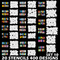 Custom Body Art Airbrush Nail Art Templates Stencil Set 10 with 20 Stencil Template Design Sheets
