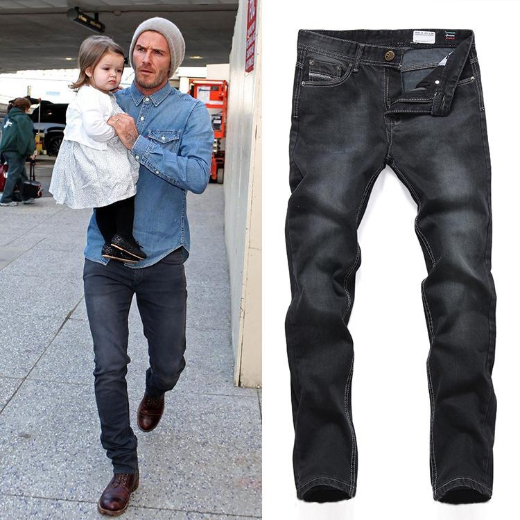 David Beckham Same Style Fashion 2015 Hot Sale Men Straight Low Rise Denim Pants Jeans
