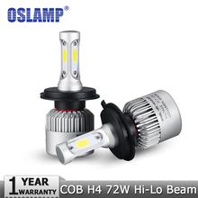 Oslamp H4 H7 H11 H1 H13 H3 9004 9005 9006 9007 9012 COB LED Car Headlight Bulb Hi-Lo Beam 72W 8000LM 6500K Auto Headlamp 12v 24v(China (Mainland))