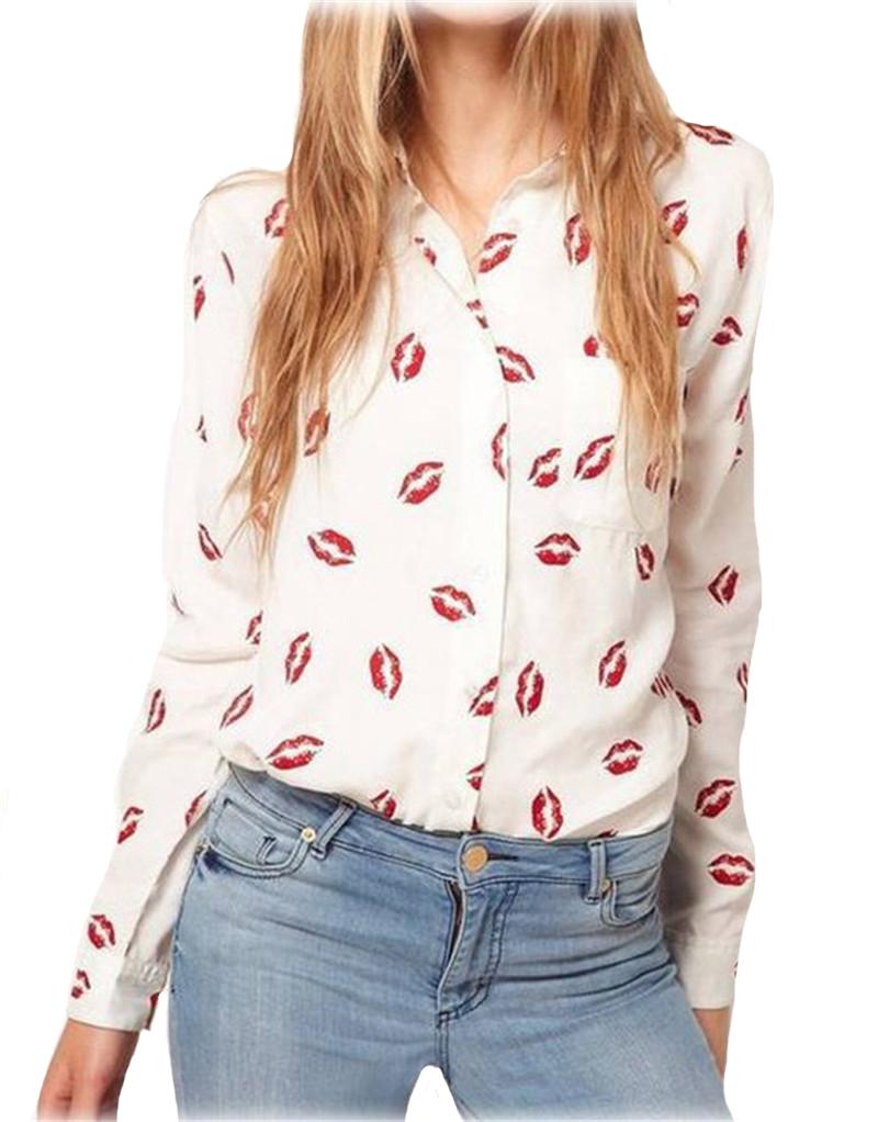 2016 Women Blouse Turn-down Collar Red Lip Print White Lady Chiffon Shirt Long Sleeve blusa Tops Plus Size Free Shipping y487(China (Mainland))