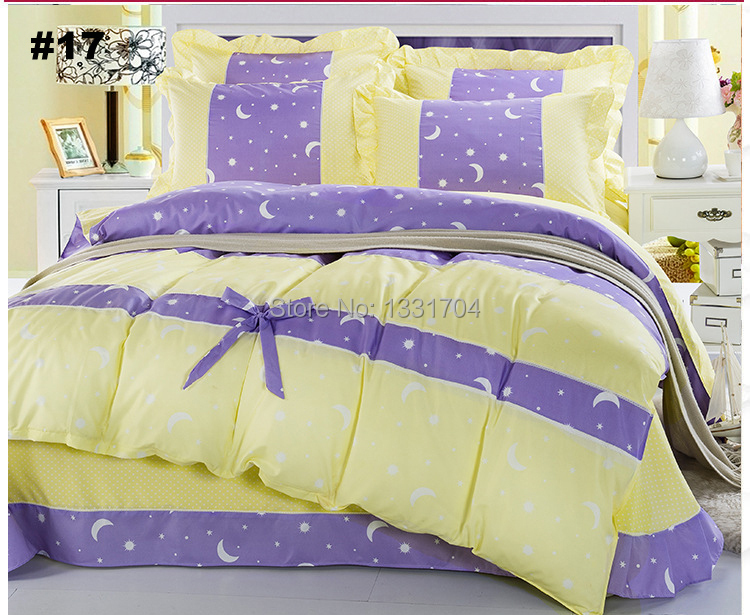 #17 free shipping DHL 100% Cotton Yellow Purple Moon Print Ruffle Duvet Cover Bedding sets 4pcs Duvet Cover Bed sheet Pillowcase(China (Mainland))