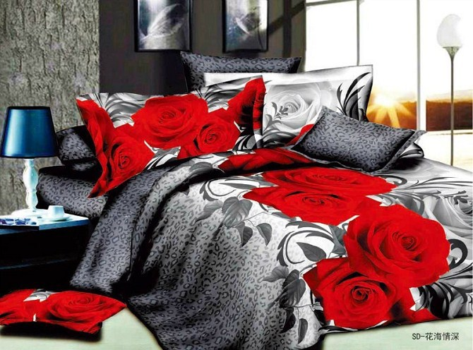 promotion 3d bedding sets queen size red rose style,bedclothes/pillowcases/quilt cover/bedspread/bed linen/bed sheet - china home product store