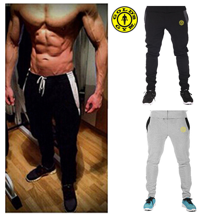 New 2015 Golds Gym Fitness Sports Pants Men Outdoor Fashion Sweat Pants Baggy Joggers Trousers Casual Skinny Fitted Bottoms(China (Mainland))
