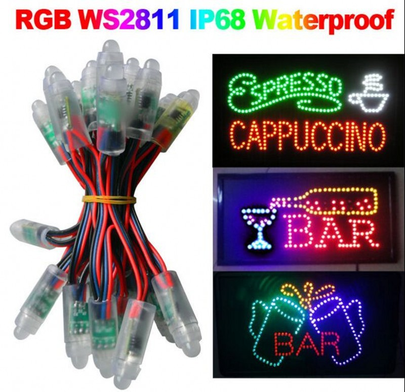 New WS2811 led pixel module 12mm IP68 waterproof DC5V full color RGB string christmas LED light Addressable as ucs1903 WS2801(China (Mainland))